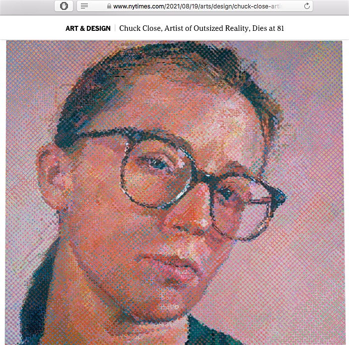 Cindy Sherman by Chuck Close, 1988, screenshot from The New York Times