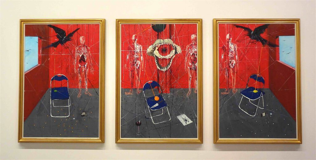 """Damian Hirst """"Insomnia"""" 2008, Triptych, oil on canvas"""