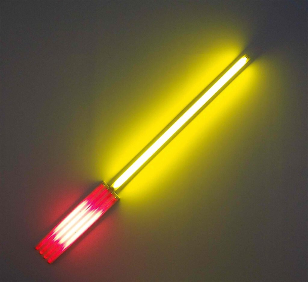 """Dan Flavin """"Alternate Diagonals of March 2, 1964"""" (to Don Judd)"""" 1964, Red and gold fluorescent light"""