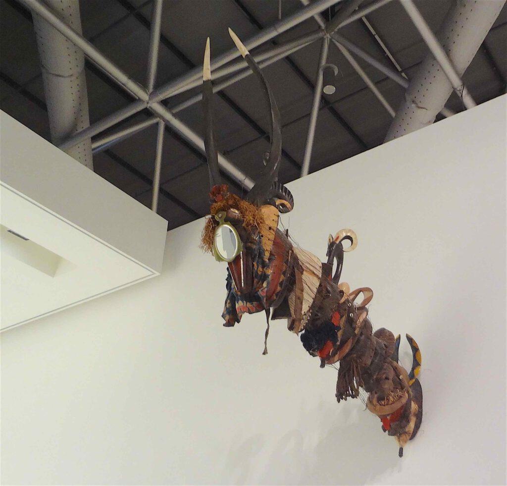 """David Hammons """"Cultural Fusion"""" 2000, Wooden masks"""