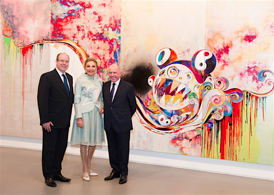 """HSH Prince Albert, Farah Pahlavi and Francois Pinault in front of MURAKAMI Takashi's work """"727-272 The Emergence of God At The Reversal of Fate"""""""