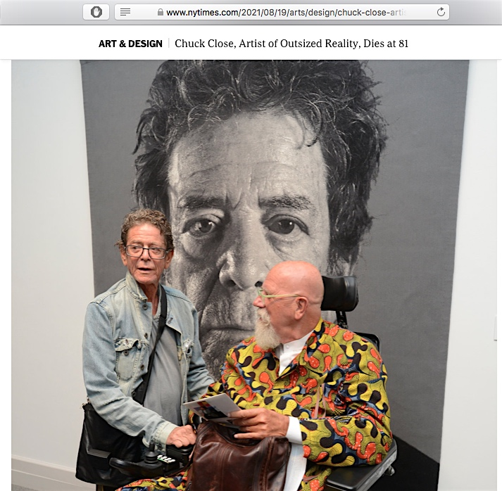 Lou Reed, in front of a portrait of himself with Chuck Close, 2013. Screenshot from The New York Times
