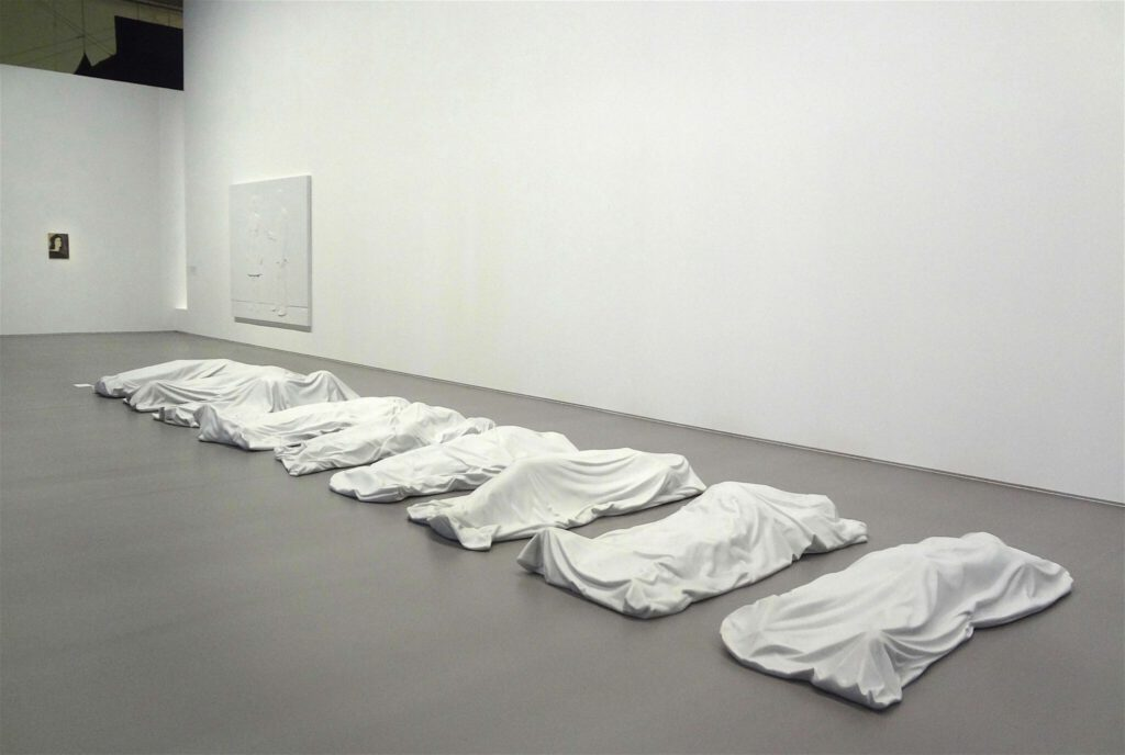 """Maurizio Cattelan """"All"""" 2007, 9 Carrare white marble sculptures"""