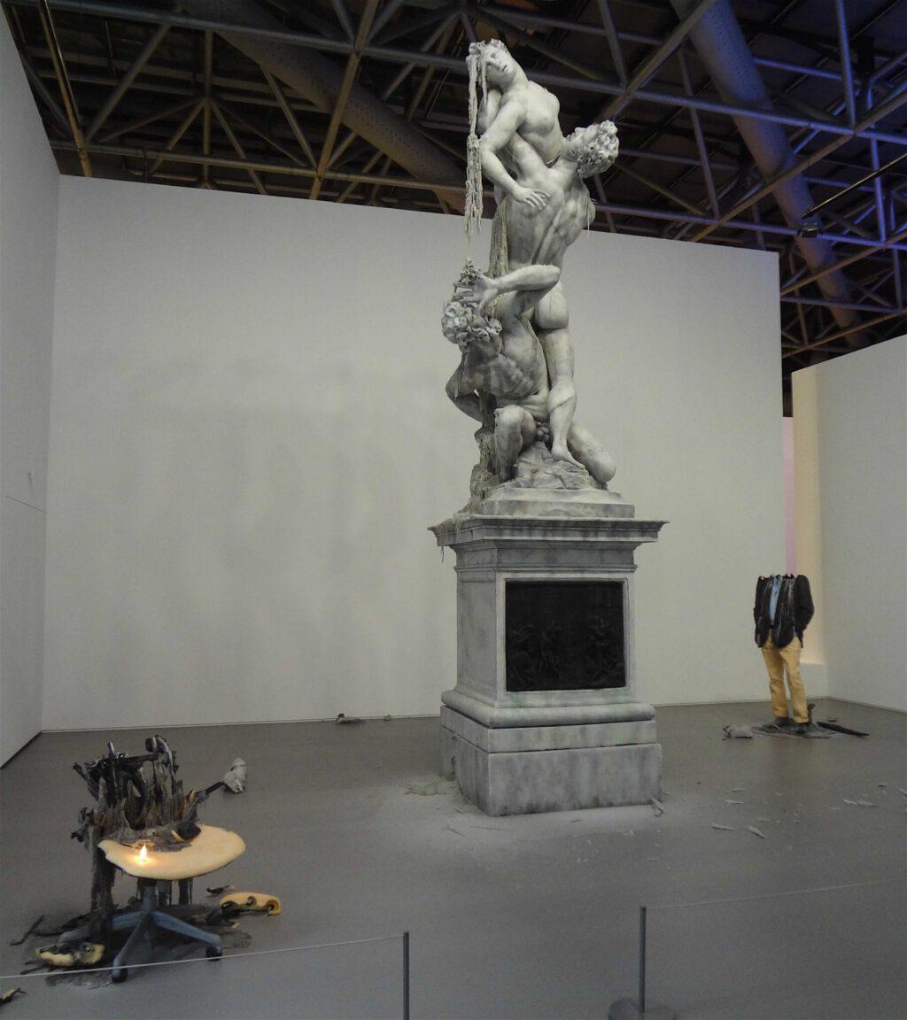 """Urs Fischer """"Untitled"""" 2011, Wax, pigments, wicks, steel"""