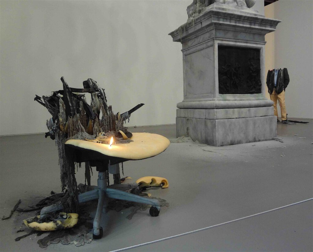 "Urs Fischer ""Untitled"" 2011, Wax, pigments, wicks, steel, detail1"