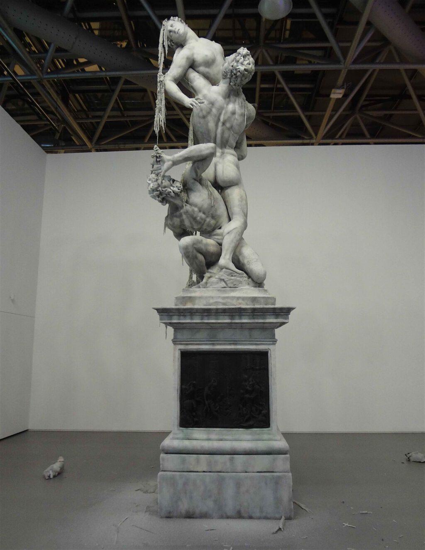 "Urs Fischer ""Untitled"" 2011, Wax, pigments, wicks, steel, detail3"