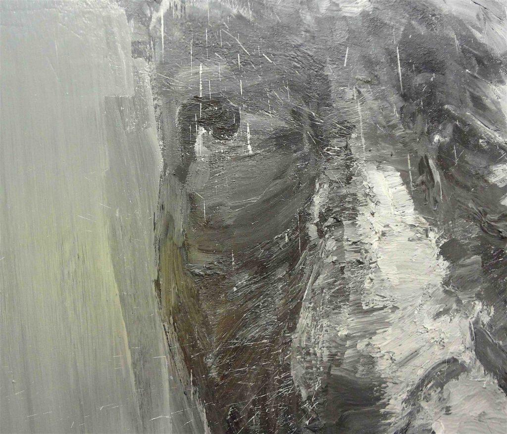 "Yan Pei-Ming ""Portrait de Giacometti"" 2007, Oil on canvas, detail1"