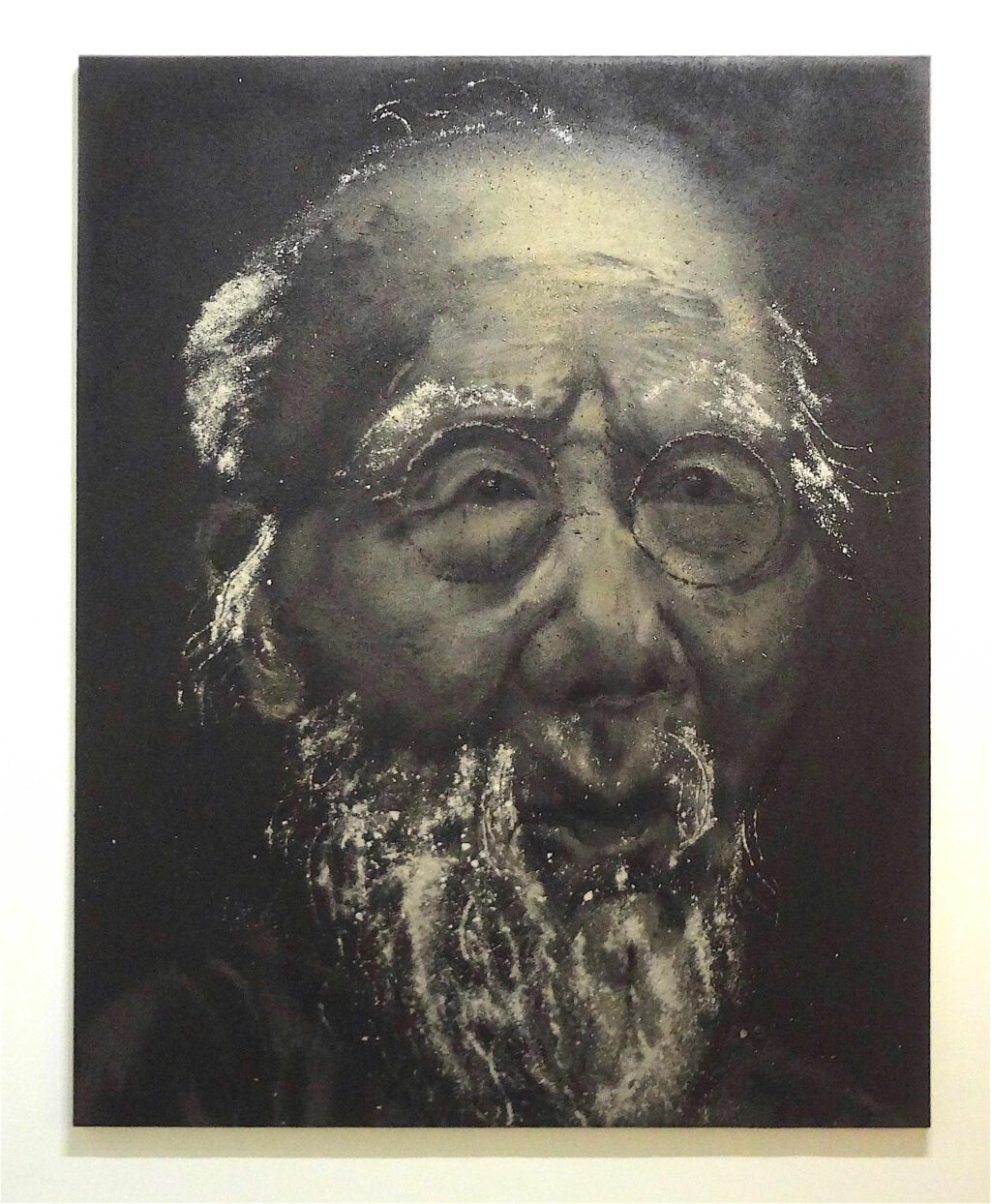 """Zhang Huan """"Old Baishi in 99 Years Old"""" 2007, Ash on linen"""