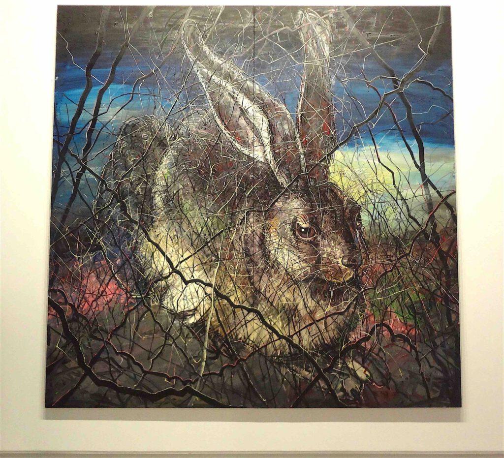 "Zheng Fanzhi ""Hare"" 2012, Oil on canvas, 2 pannels"