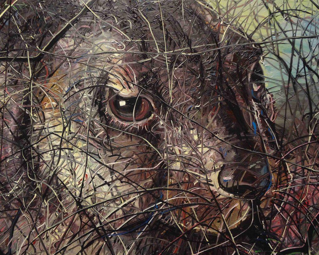 "Zheng Fanzhi ""Hare"" 2012, Oil on canvas, 2 pannels, detail1"