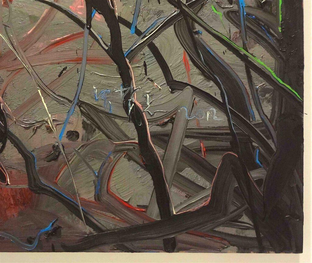 "Zheng Fanzhi ""Hare"" 2012, Oil on canvas, 2 pannels, detail3"