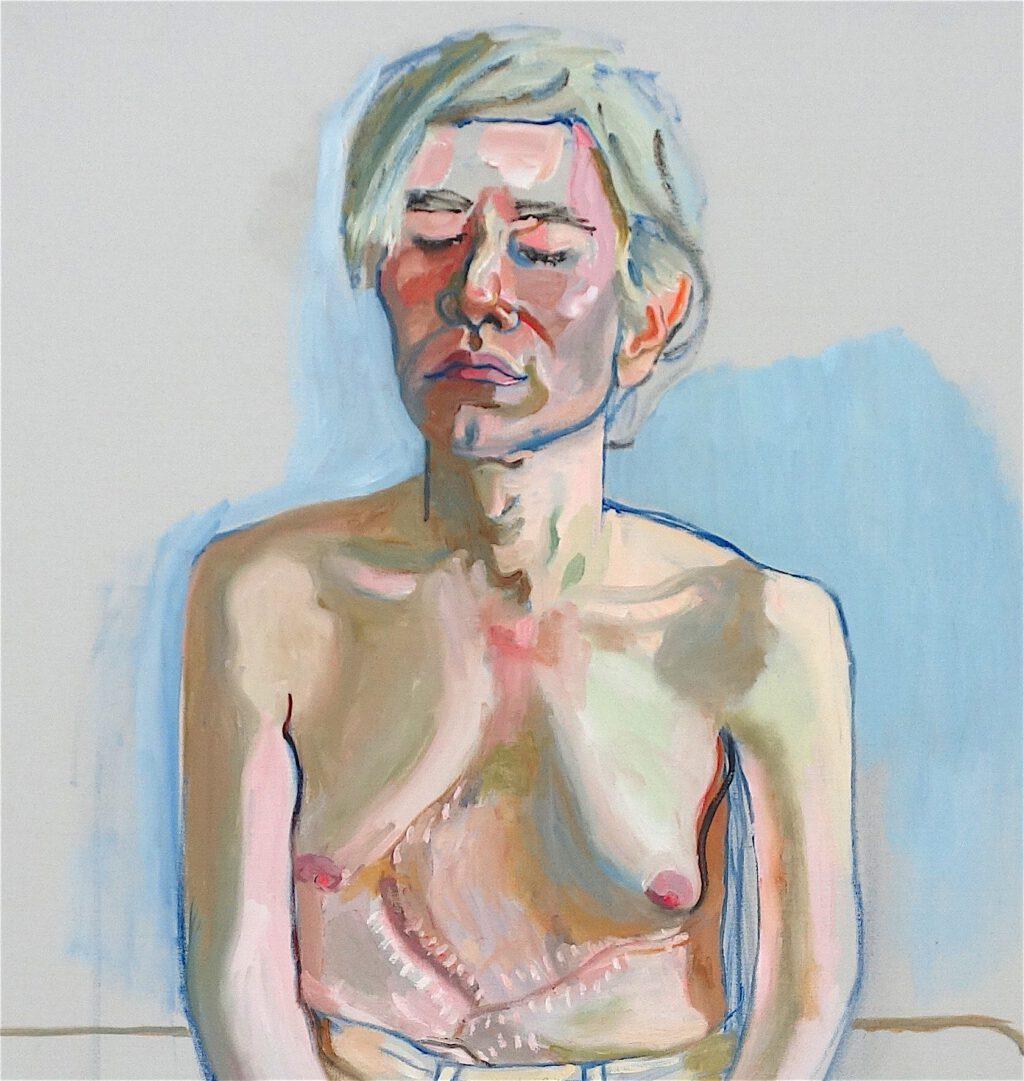 アリス・ニール「アンディ・ウォーホル」キャンバスに油彩とアクリル、152.4 x 101.6 センチ、部分、1970年