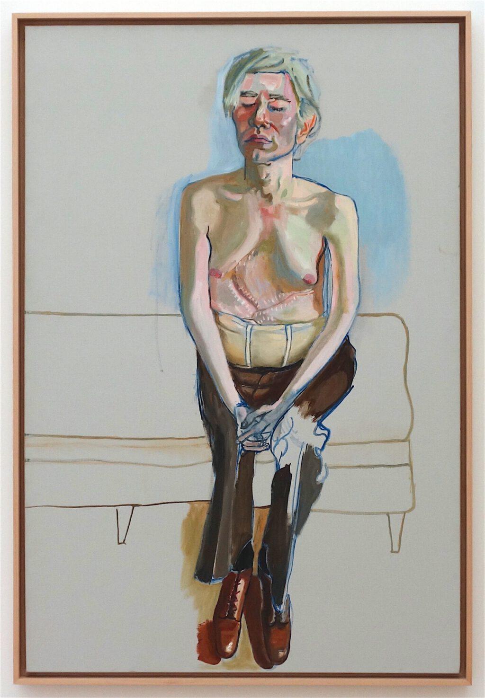 アリス・ニール「アンディ・ウォーホル」キャンバスに油彩とアクリル、152.4 x 101.6 センチ、1970年 (Whitney Museum)