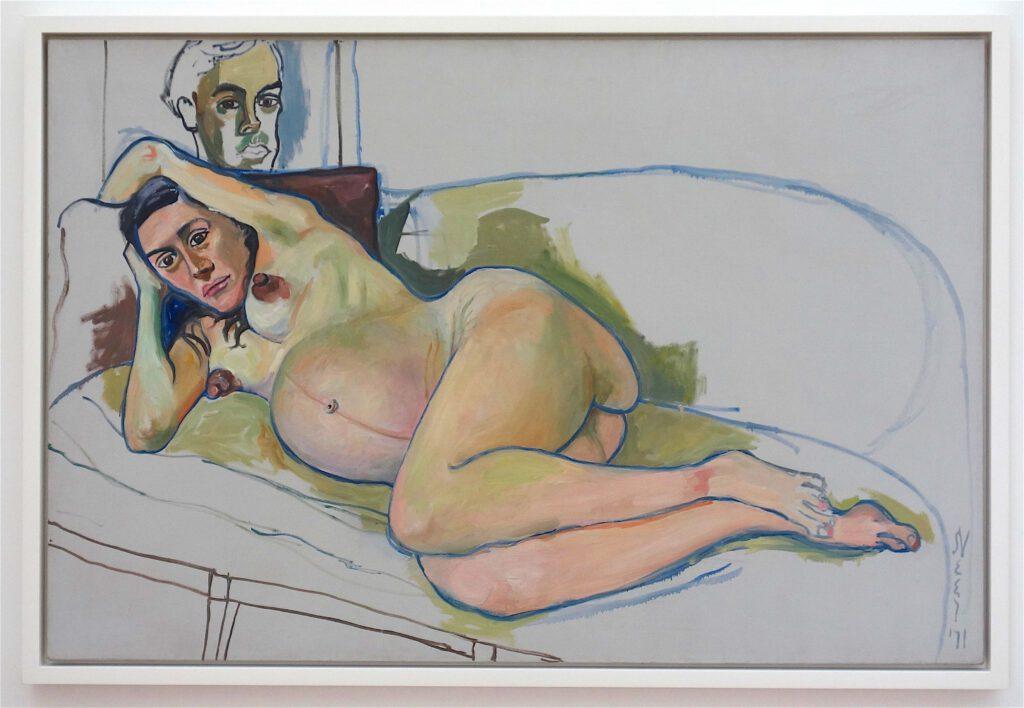 アリス・ニール「妊娠中の女性」油絵、101.6 x 152.4 センチ、1971年