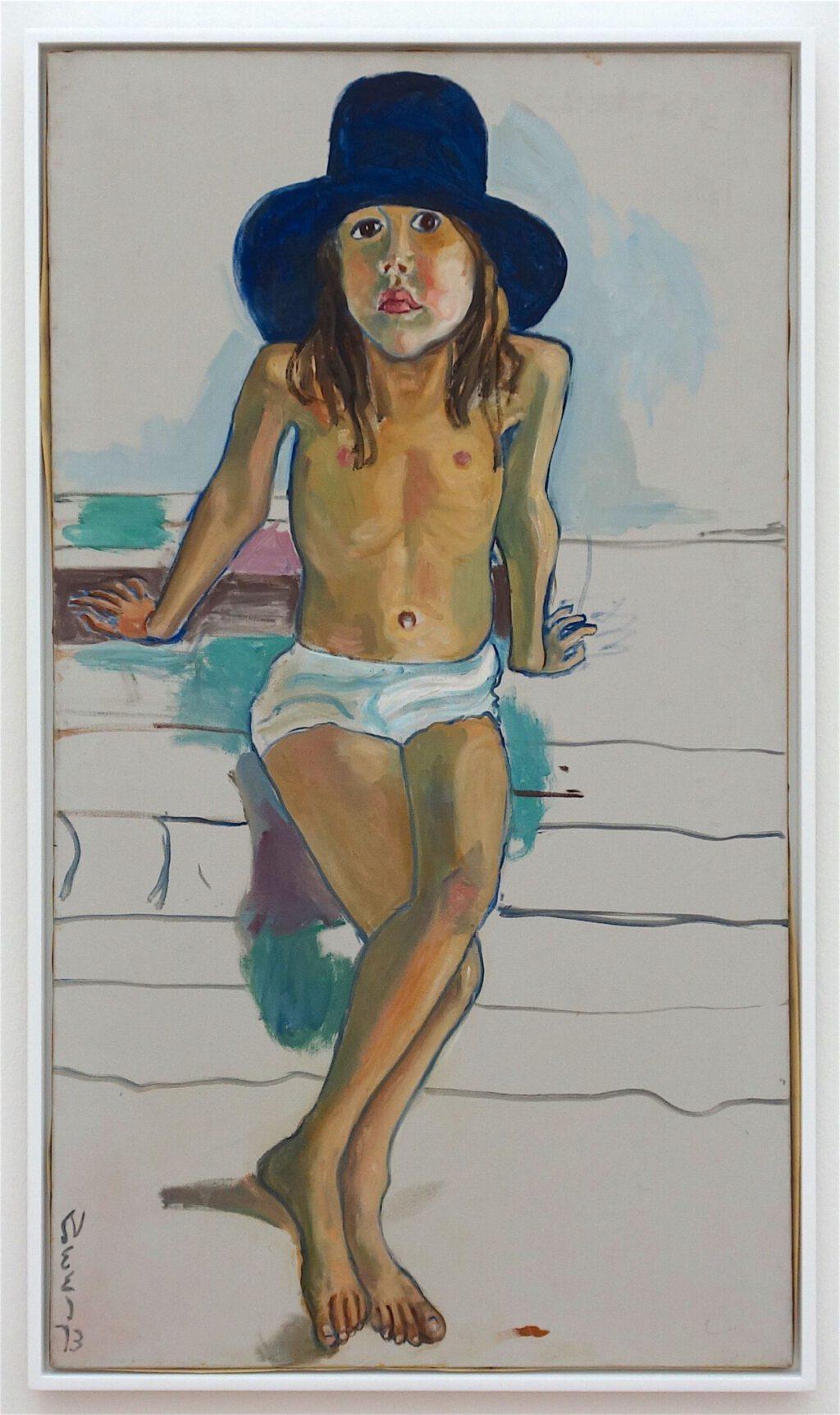 アリス・ニール「青い帽子のオリビア」油絵、1973年