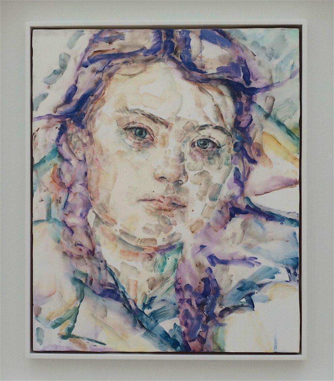 エリザベス・ペイトン「グレタ」木材に油彩、43.2 x 35.6 センチ、2019年