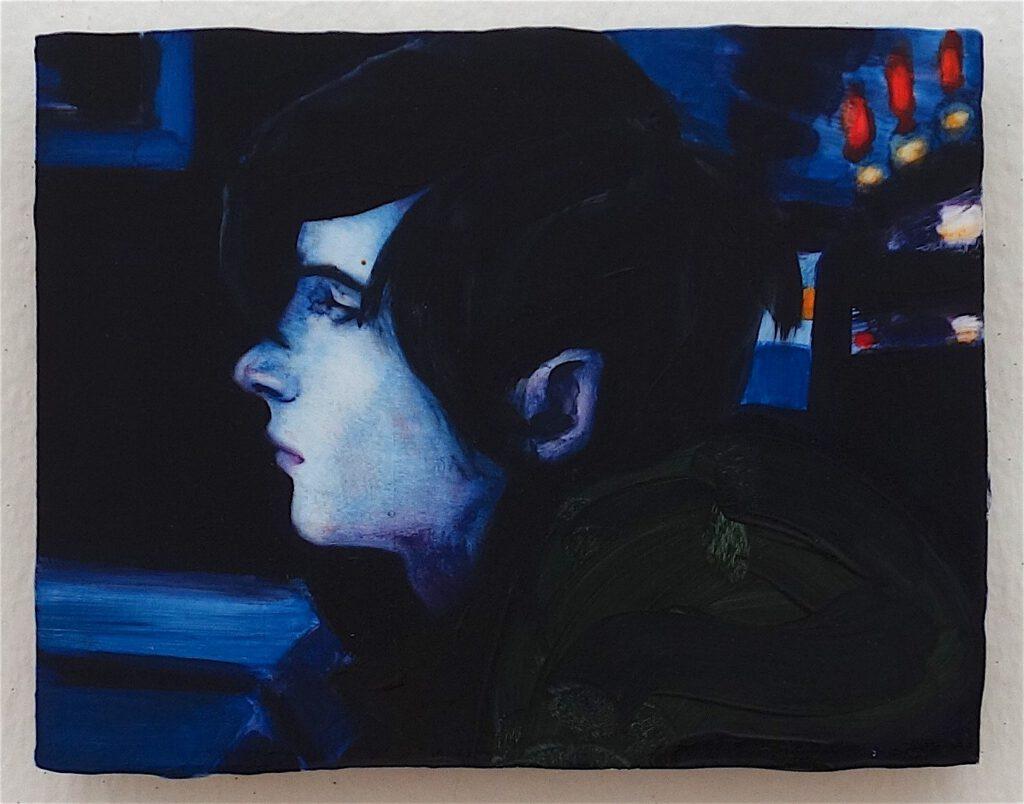 エリザベス・ペイトン「ニック(ラ・ランチョンマット2002年12月号)」木材に油彩、18.4 x 22.9 センチ、2003年