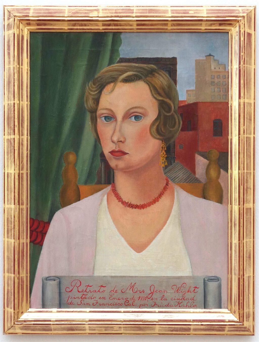 フリーダ・カーロ「ジーン・ワイト夫人の肖像画」 キャンバスに油彩、63.5 x 46 センチ、1931年 (Berggruen Collection)