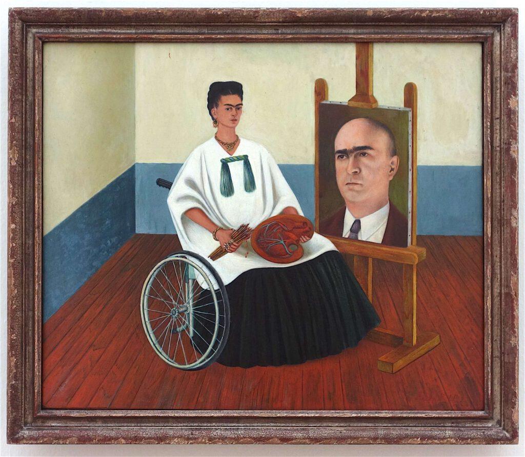 フリーダ・カーロ「ファリル博士の肖像画と自画像」 メゾナイトに油彩、41.8 x 50.2 センチ、1951年 (Private Collection, Courtesy Hauser & Wirth Collection Services)