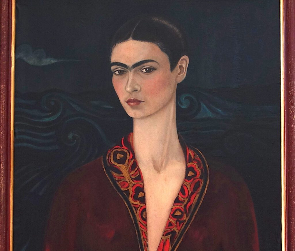 フリーダ・カーロ「ベルベットのドレスを着た自画像」 油絵、79.7 x 59.9 センチ、部分、1926年
