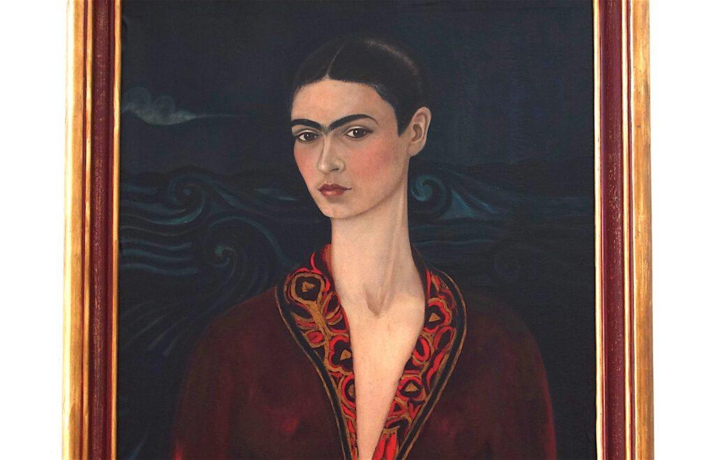 フリーダ・カーロ「ベルベットのドレスを着た自画像」 油絵、79.7 x 59.9 センチ、部分、1926年 @ バイエラー財団 2021年