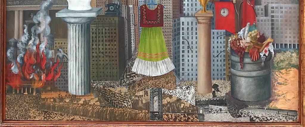 フリーダ・カーロ「私のドレスはそこにぶら下がっている」 メゾナイトに油彩とコラージュ、46 x 55 センチ、部分、1933年(色は明るく)