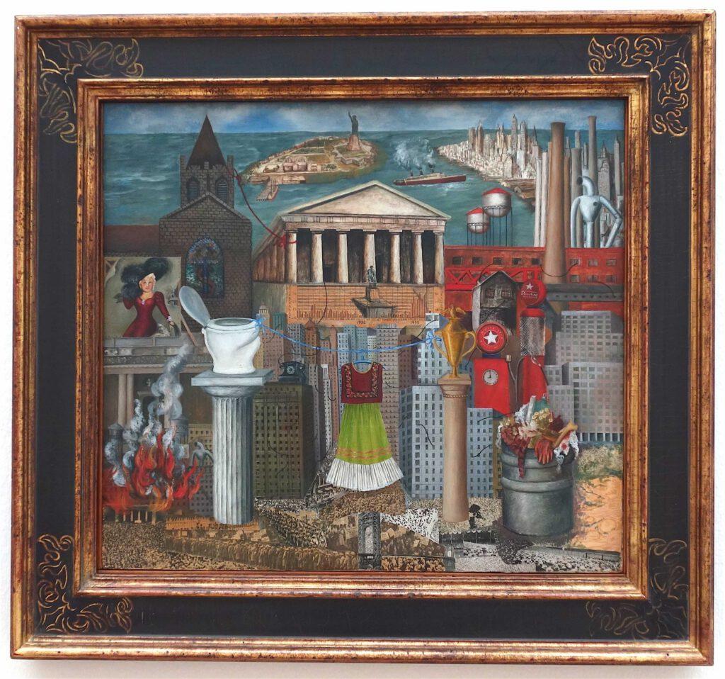 フリーダ・カーロ「私のドレスはそこにぶら下がっている」 メゾナイトに油彩とコラージュ、46 x 55 センチ、1933年 (FEMSA Collection)