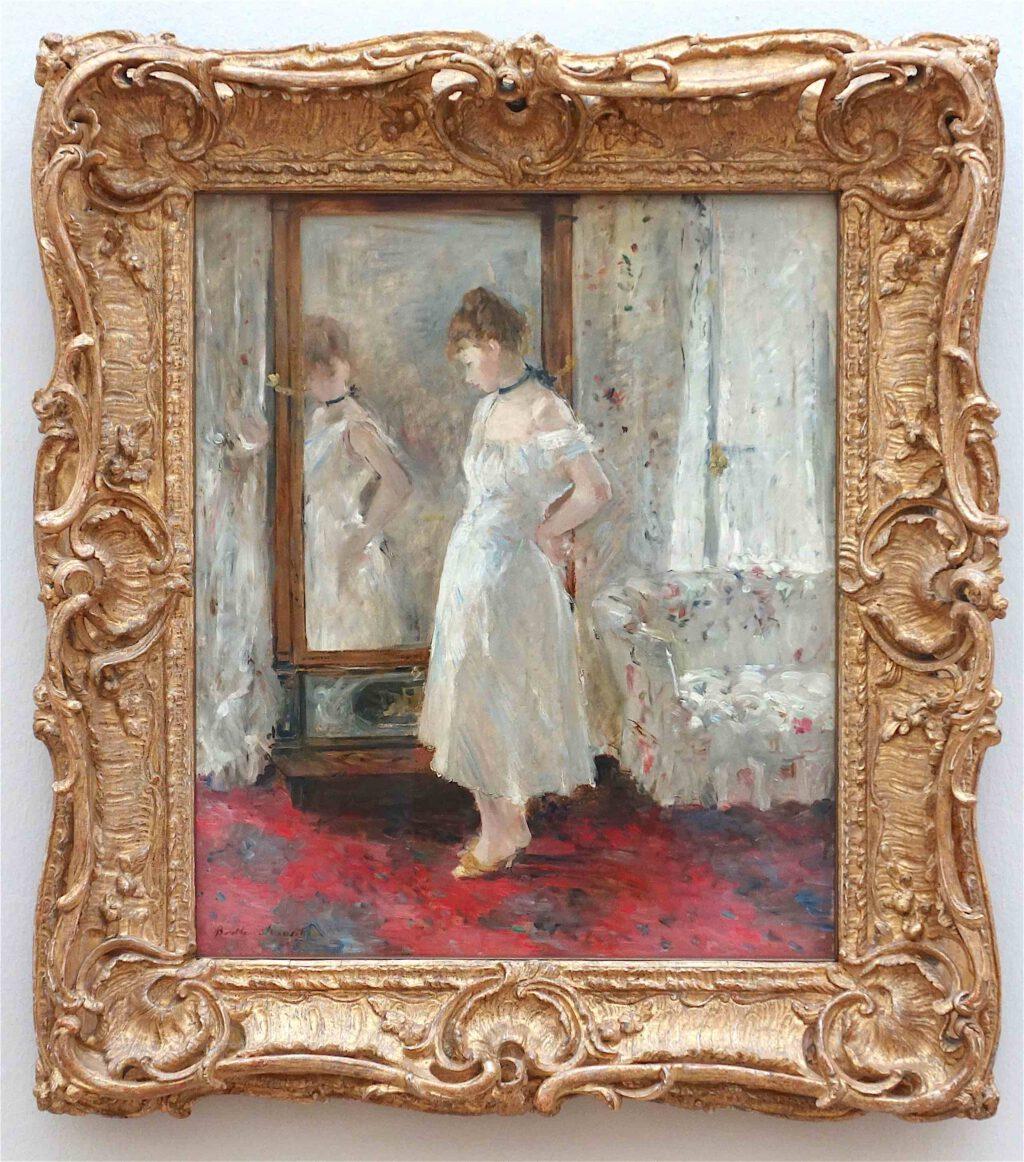 ベルト・モリゾ「プシュケーの鏡」油絵、65 x 54 センチ、1876年 (Museo Nacional Thyssen-Bornemisza, Madrid)