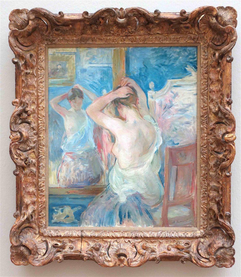 ベルト・モリゾ「プシュケーの鏡の前」油絵、55 x 46 センチ、1890年 (Fondation Pierre Gianadda, Martigny)
