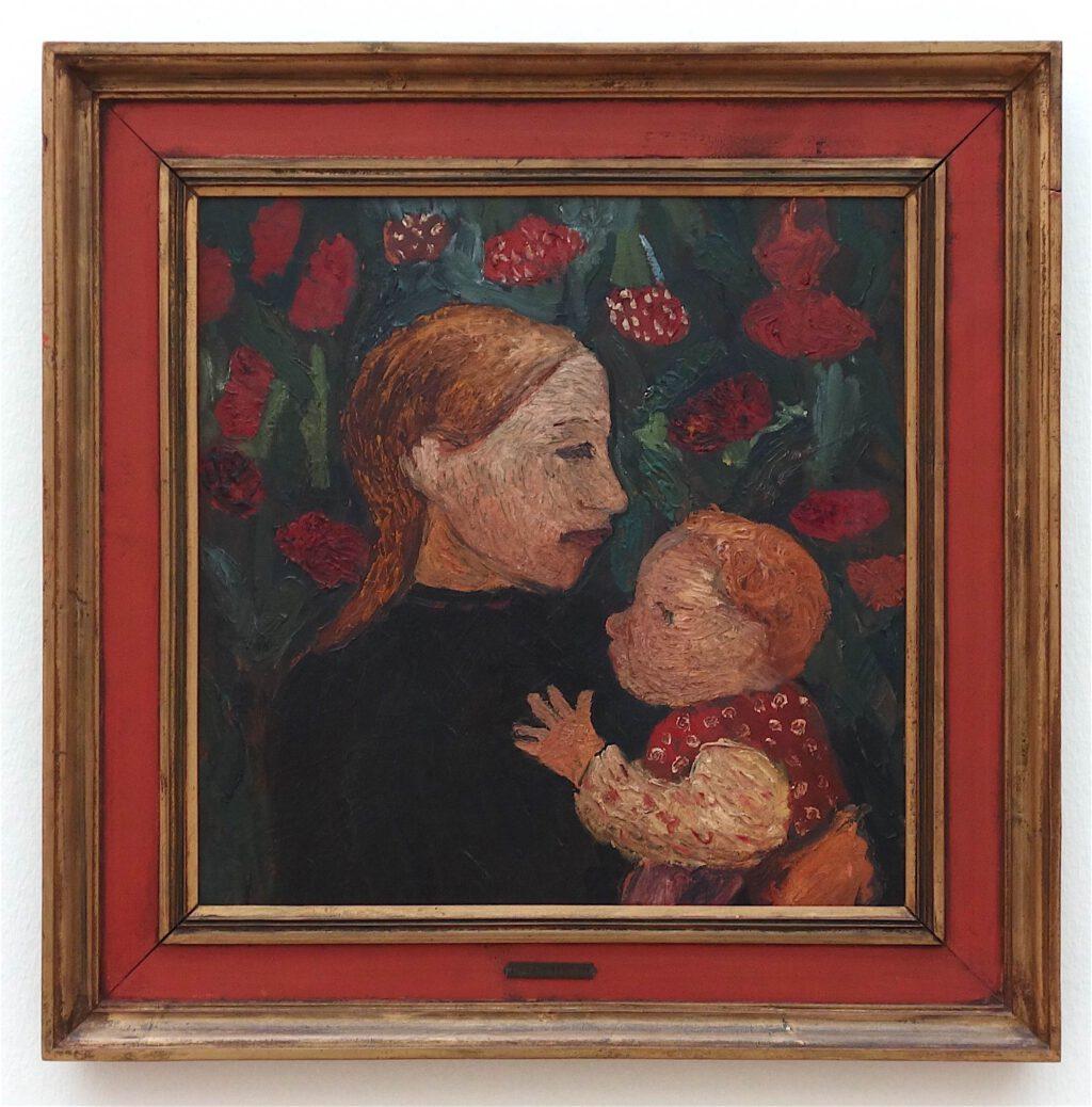 ポーラ・モデルソン=ベッカー「花畑の前で子供を持つ少女」厚紙にオイルテンペラ、46 x 48 センチ、約1902年