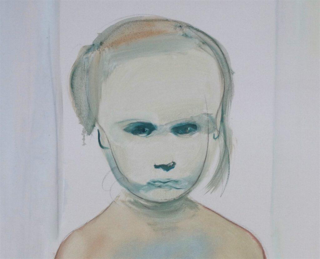 マレーネ・デュマ「画家」油絵、200.7 x 99.7 センチ、部分、1994年
