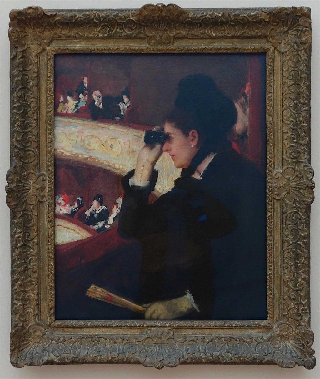 メアリー・カサット「シアターボックス内」油絵、81.3 x 66 センチ、1878年 (Museum of Fine Arts, Boston)