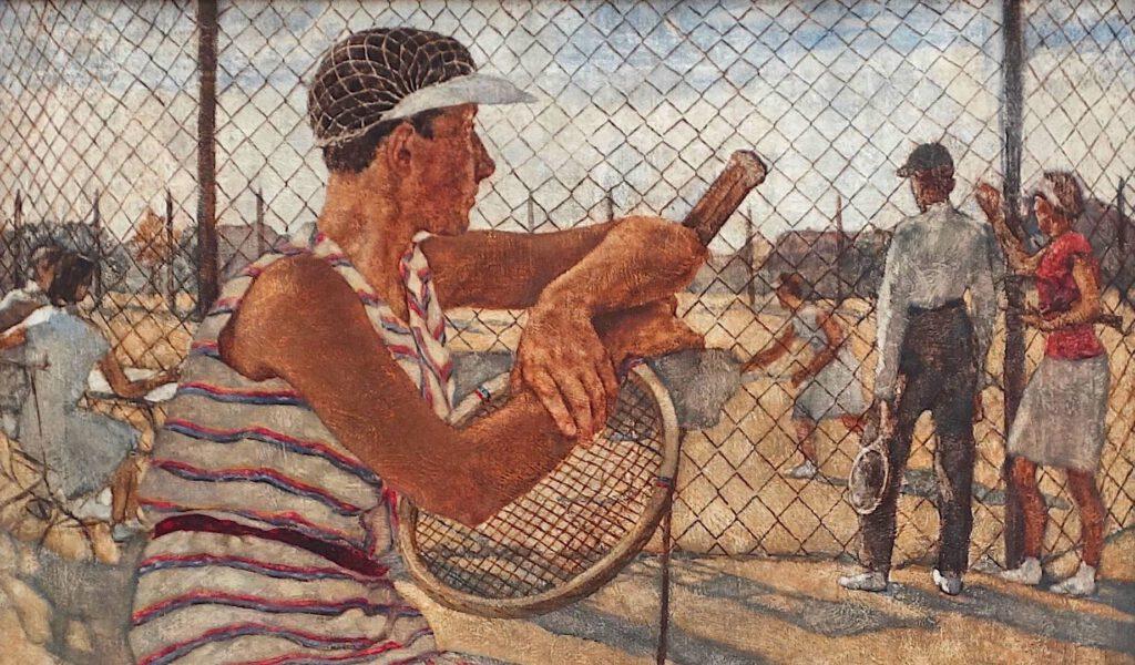 ロッテ・ラーゼルシュタイン「女性のテニスプレイヤー」キャンバスに油彩、110 x 95.5 センチ、部分、1929年