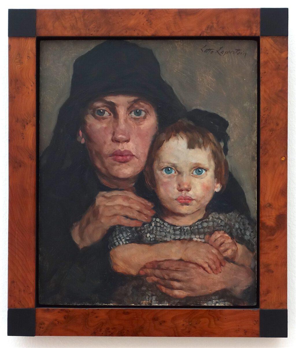 ロッテ・ラーゼルシュタイン「母親と子供」木材に油彩、46 x 38 センチ、約1926年 (1927年3月前)