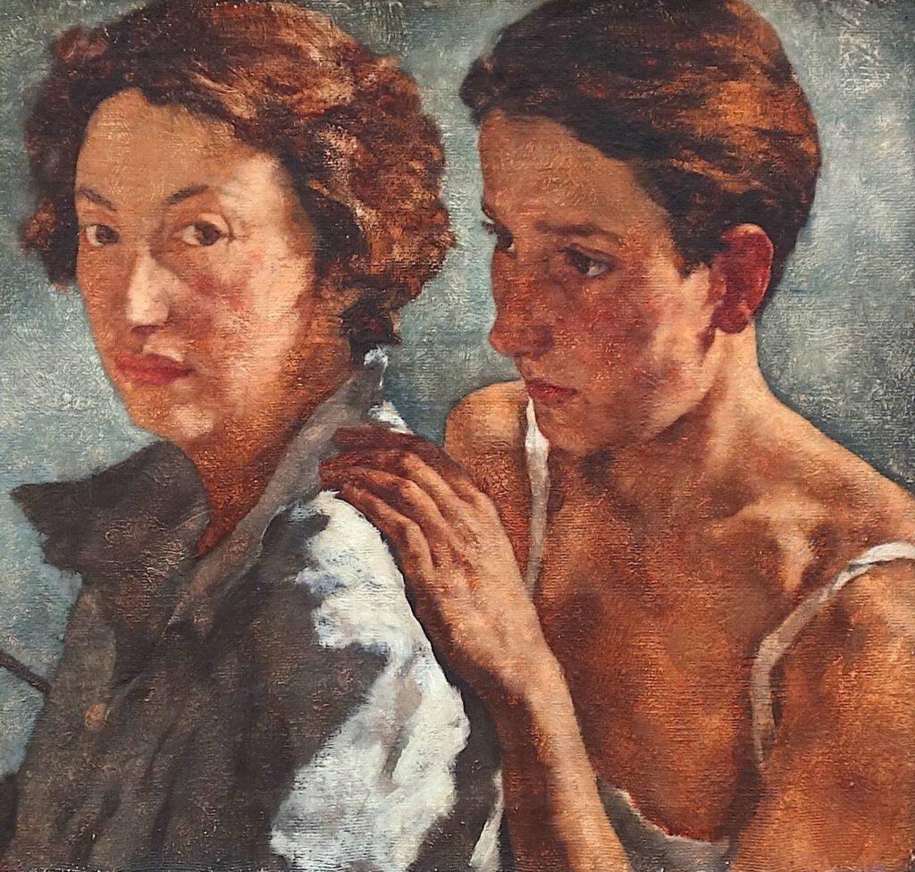 ロッテ・ラーゼルシュタイン「私と私のモデル」キャンバスに油彩、49.5 x 69.5 センチ、部分、1929-1930年