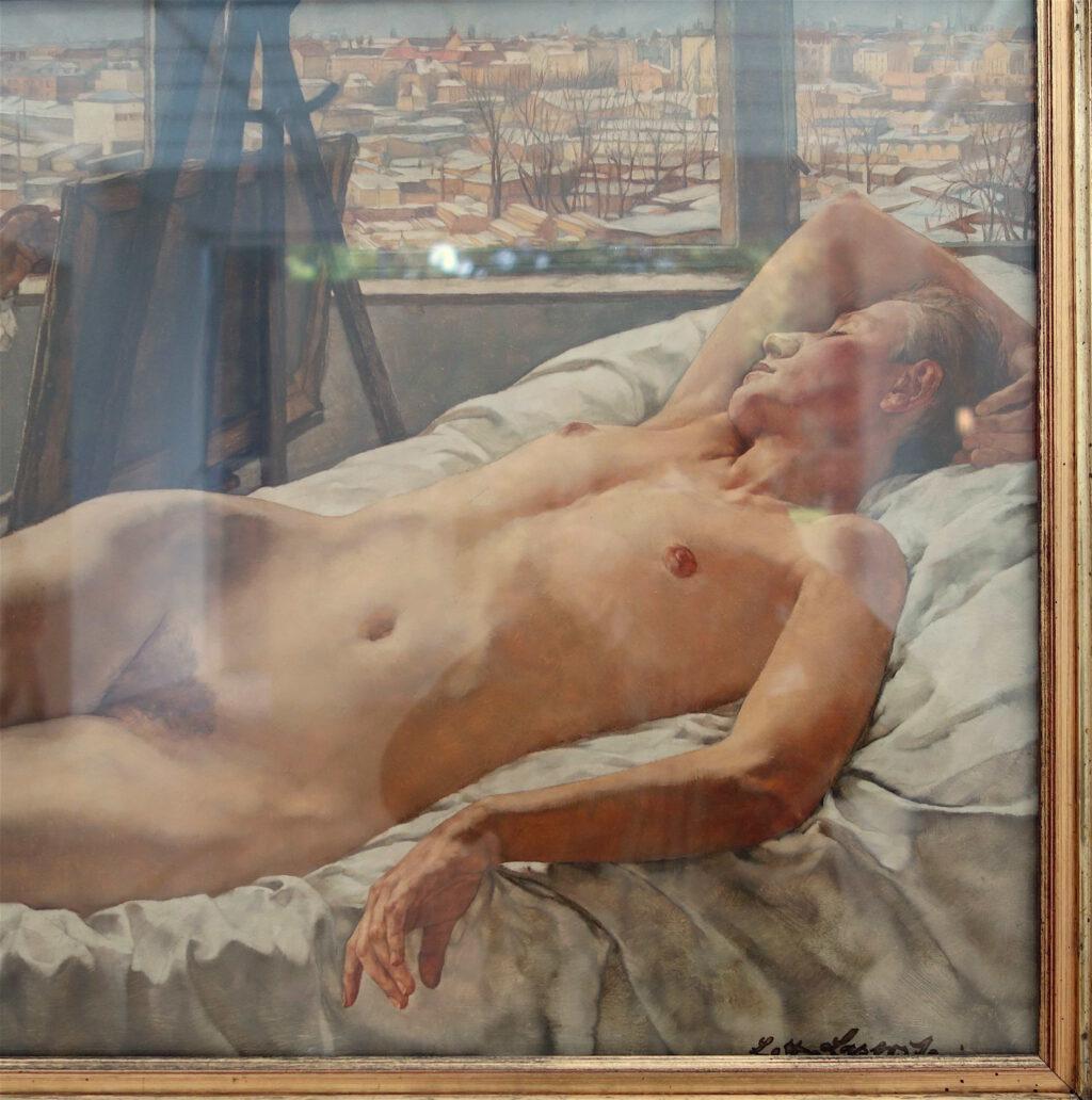 ロッテ・ラーゼルシュタイン「私のアトリエにて」木材に油彩、46 x 73 センチ、部分、1928年
