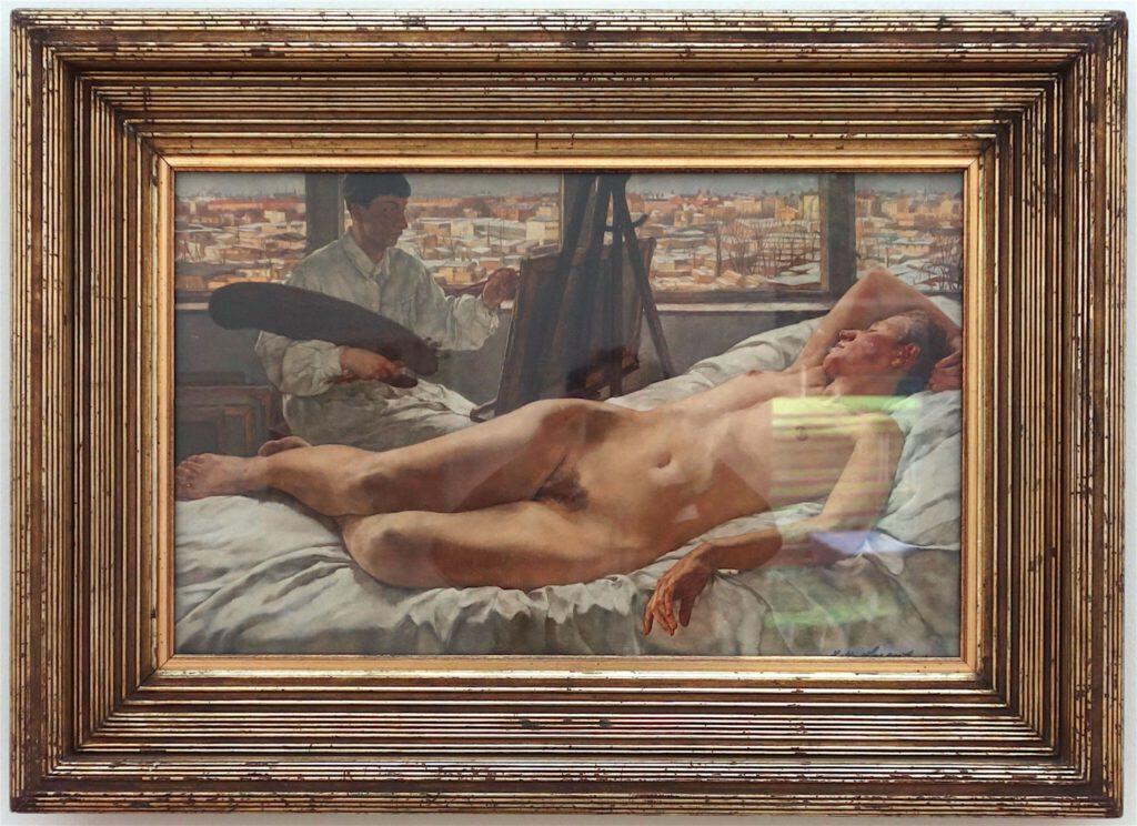 ロッテ・ラーゼルシュタイン「私のアトリエにて」木材に油彩、46 x 73 センチ、1928年