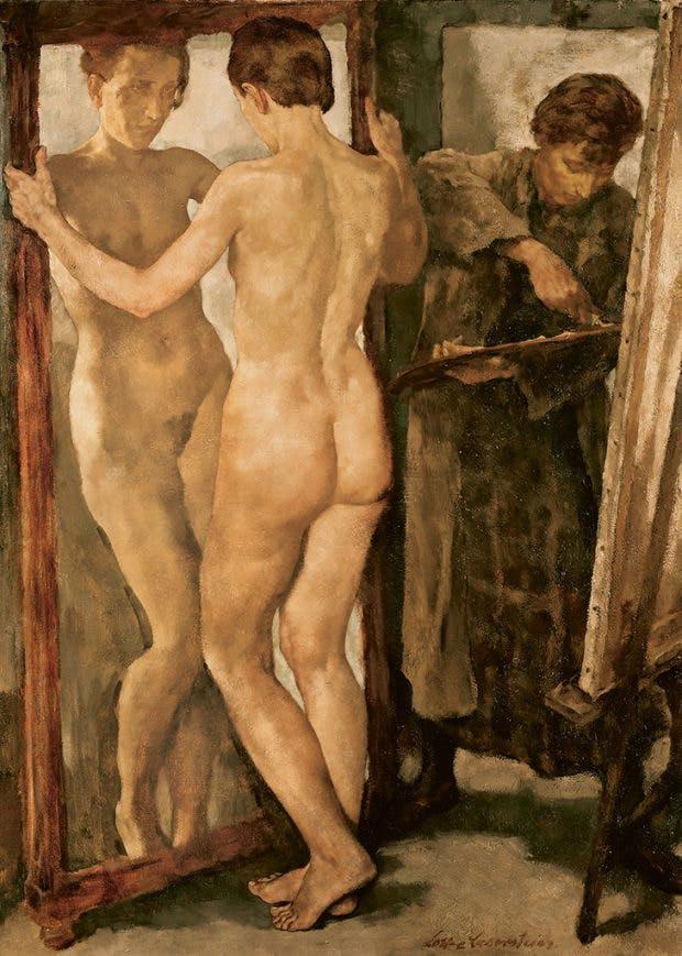 ロッテ・ラーゼルシュタイン「鏡の前」キャンバスに油彩、1930-1931年