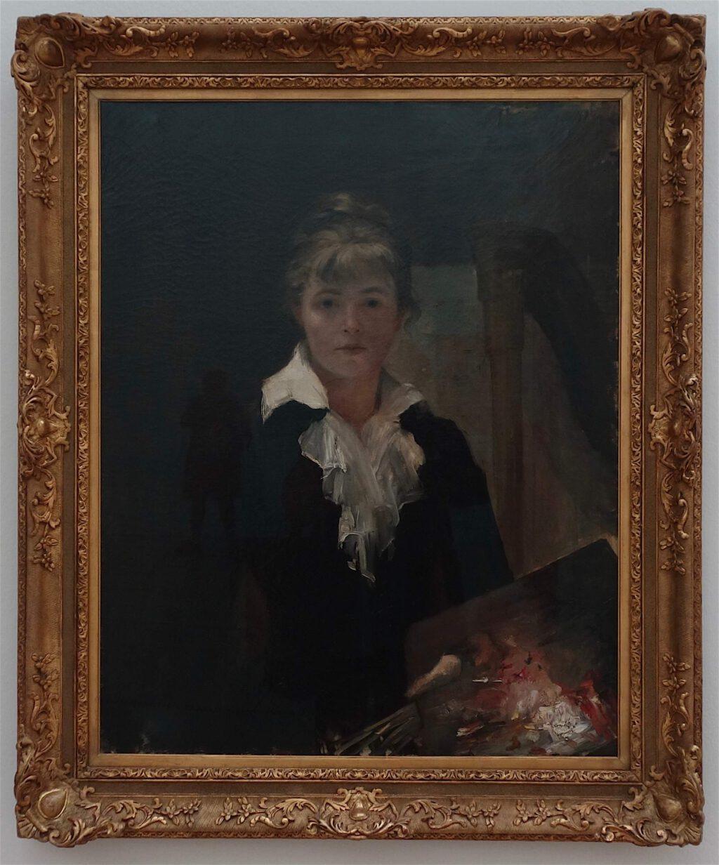"""Marie Bashkirtseff """"Autoportrait à la palette"""" Oil on canvas, ca. 1883 (Musée des Beaux-Arts Jules Chéret – Ville de Nice)"""