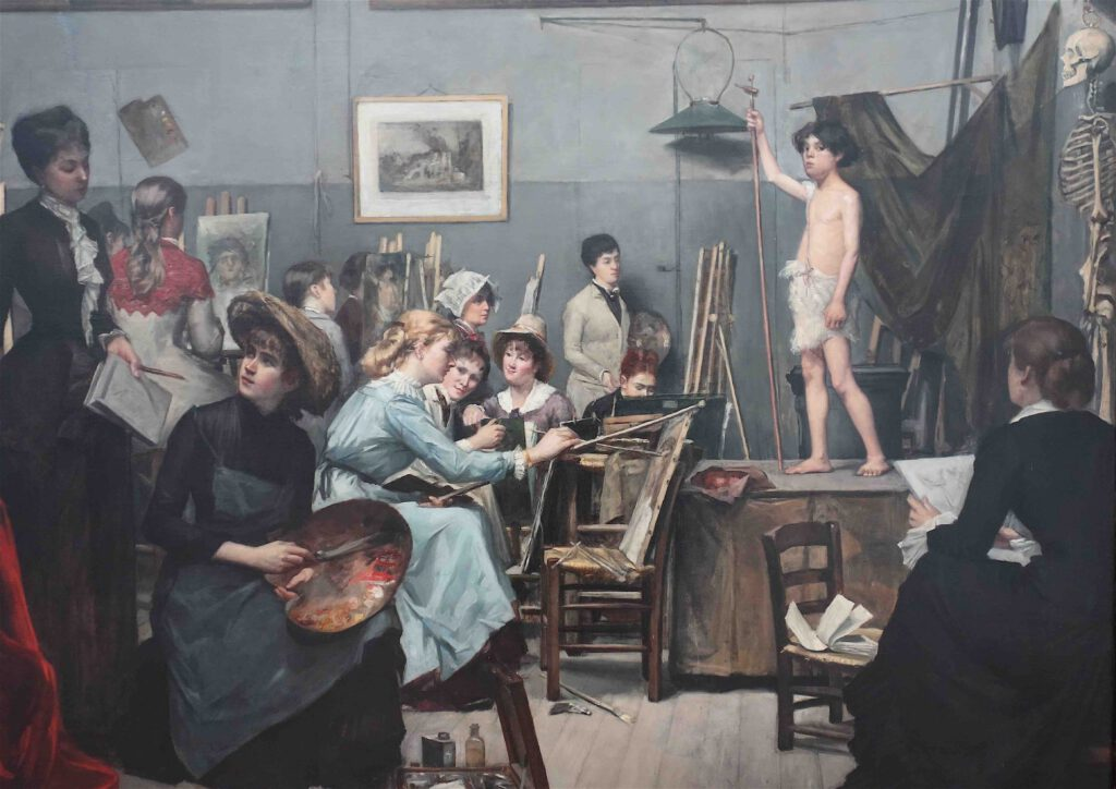 "Marie Bashkirtseff ""L'Académie Julian"" 1881, detail"