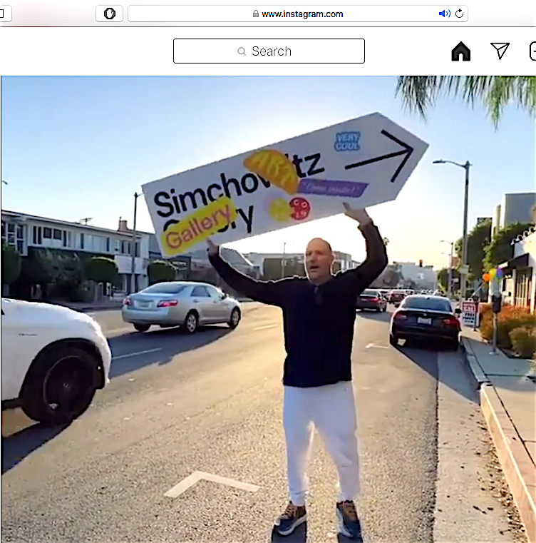 Art dealer Stefan Simchowitz waving at 8255 Beverly Blvd. Los Angeles, courtesy Insta